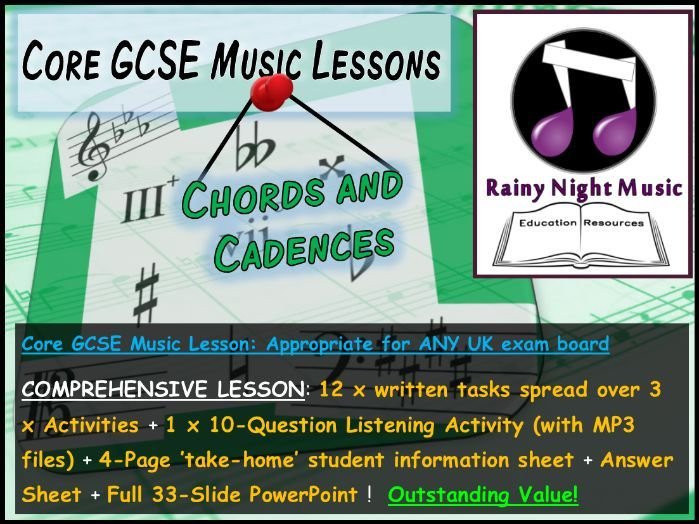 Core GCSE Music Lesson CHORDS and CADENCES Suitable for ANY UK GCSE Music Exam Board