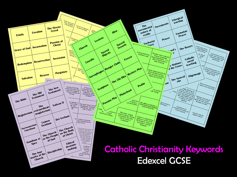 NEW EDEXCEL GCSE 60 Catholic Christianity Keyword Revision Cards (15 for each topic)