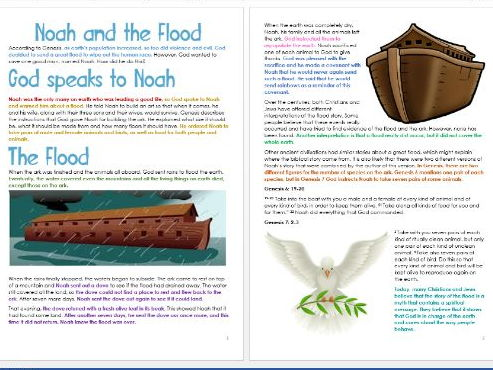 Genesis: Noah and the Flood: Differentiated Information and Activity Sheets