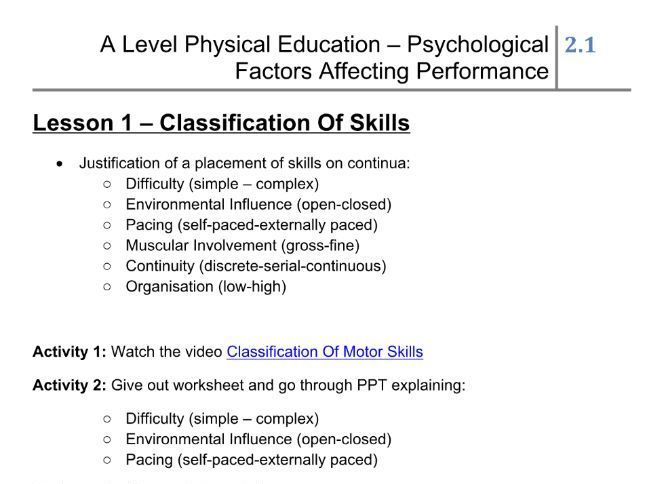 Skill Acquisition - Classification Of Skills Lesson Plan