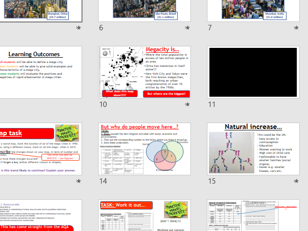 AQA GCSE - Introducation to Urbanisation (2 lessons and resources).