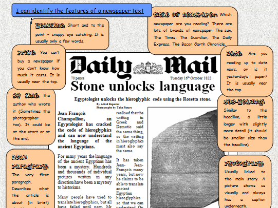 Features Of A Newspaper Rosetta Stone By Oldham30 Teaching
