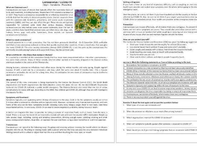 COVID-19 / Coronavirus Reading Comprehension text