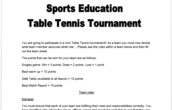 Core PE - Table Tennis Sports Education Booklet