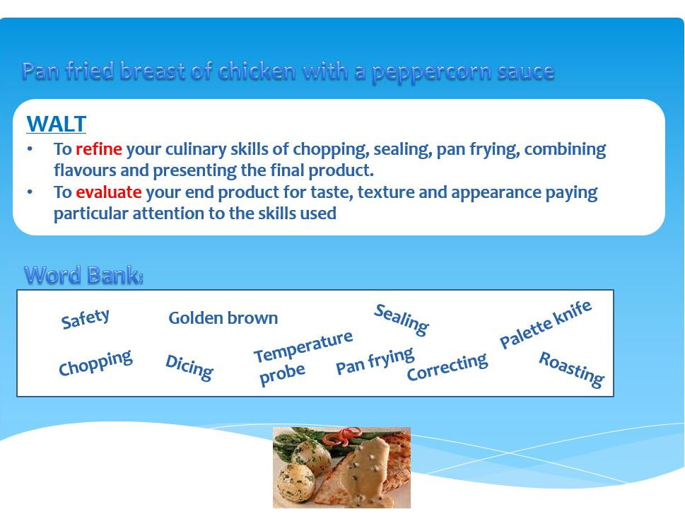 GCSE Food and Nutrition lesson  bundle for chicken with peppercorn sauce. + balanced diets