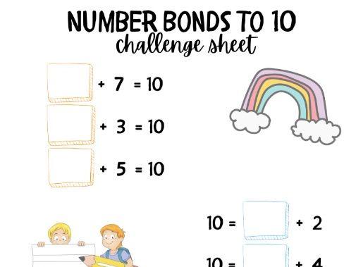 Pastel Number Bonds to 10 Challenge Sheet