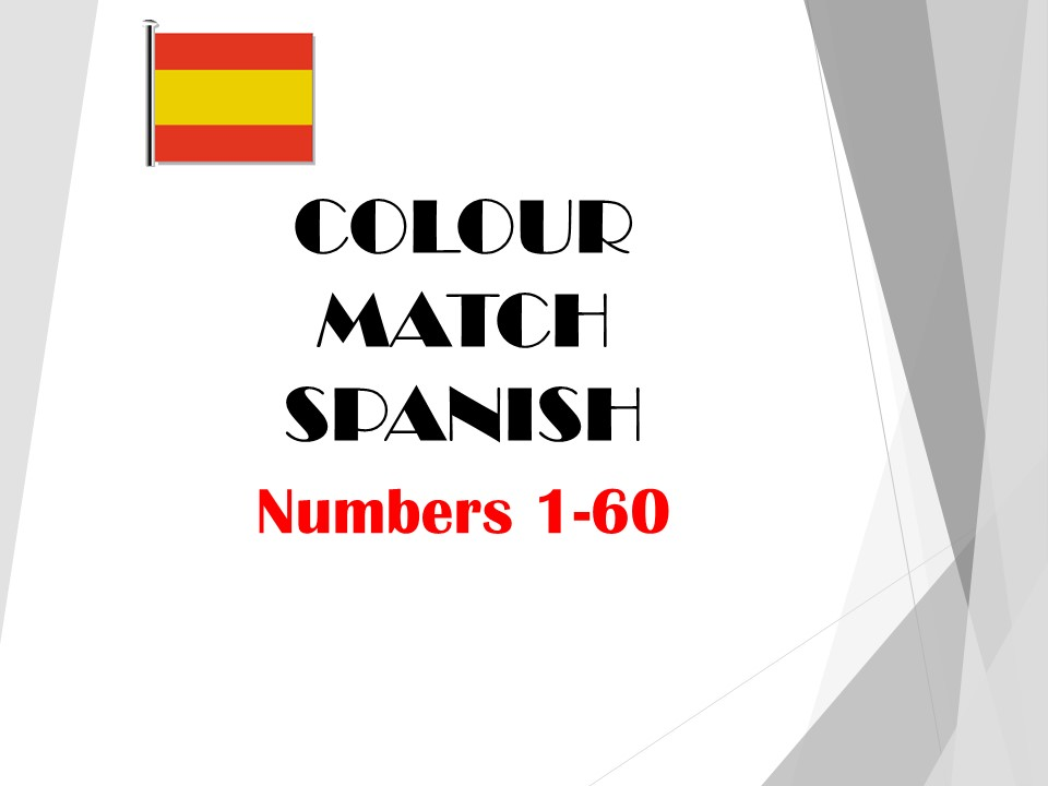 Numbers 1-60 COLOUR MATCH (Spanish)