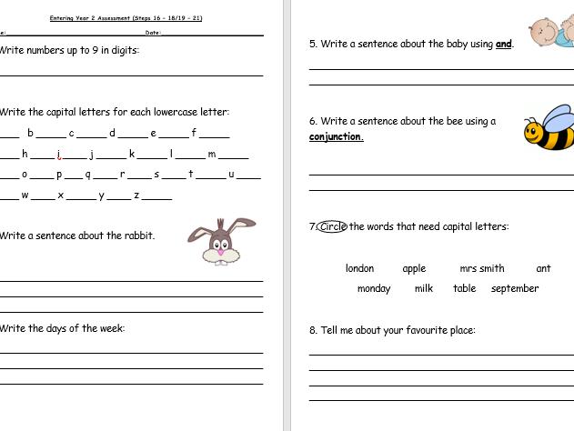 Entering Year 2 Literacy Assessment