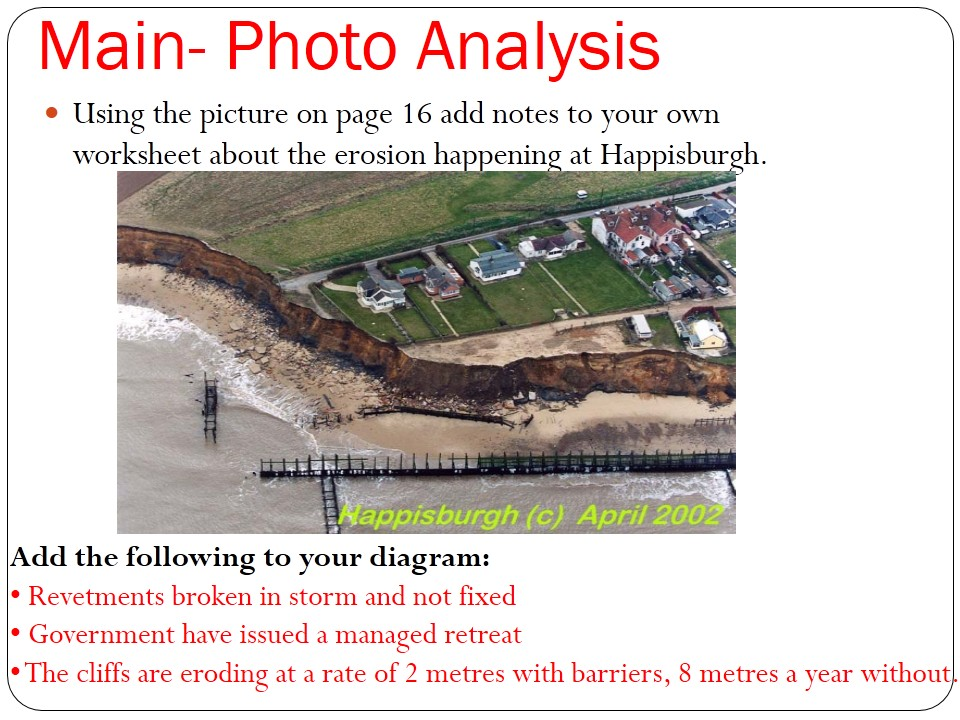 WJEC B PNWI 2016-2017 Coasts 4) Happisburgh under threat