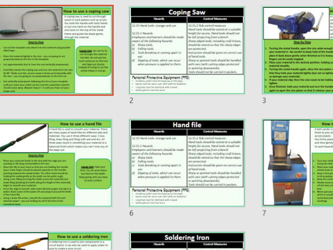 Independent learning DT tool risk assessment display and advice cards for basic tools HandS
