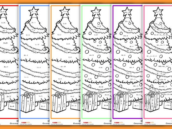 Christmas Worksheets Colour By Numbers Mixed Maths Teaching Resources