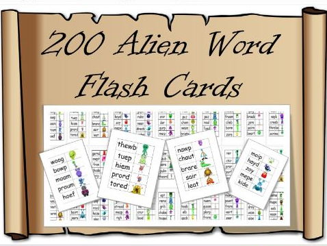 200 Alien / Pseudo Word Flashcards – Phonic Screening check , revision, preparation, year one / two