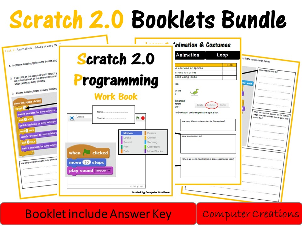 Scratch 2.0 Lesson Booklet 1 (including answers)