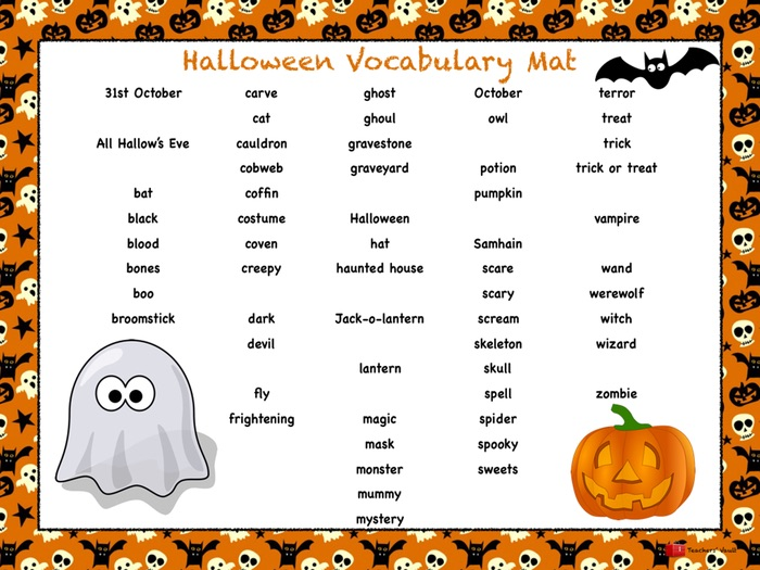 Halloween Vocabulary Mat