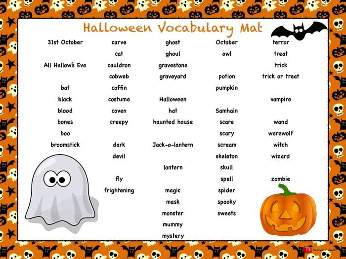 Halloween Vocabulary Mat