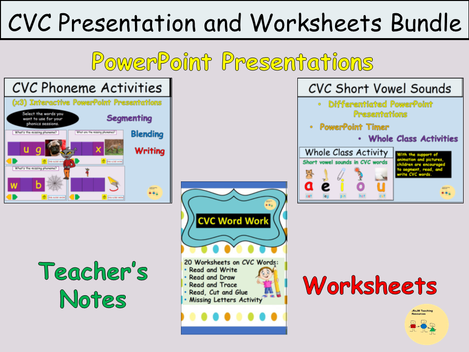 CVC Word Work Presentations, Short Medial Vowels  and Worksheets, Teacher Notes Bundle
