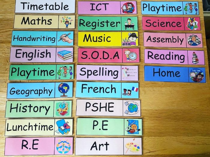 Class visual timetable