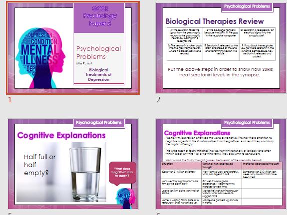 GCSE AQA Psychology (9-1) Psychological problems lessons