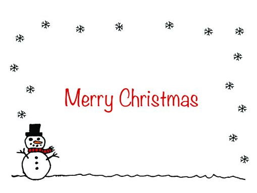 Christmas card insert - Snowman design A5 - 2 up on a A4 page - landscape design