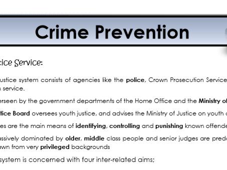 AQA Sociology - Year 2 - Crime & Deviance - Crime prevention