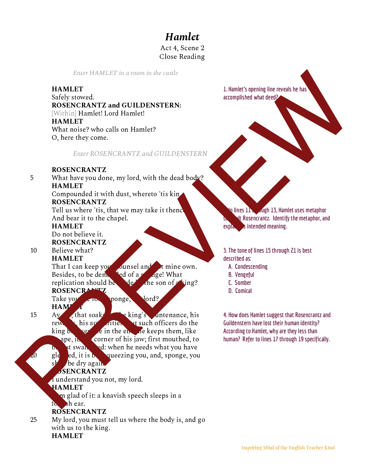 Shakespeare S Hamlet Close Reading Of Act 4 Scene 2 Teaching Resources [ 1584 x 1224 Pixel ]