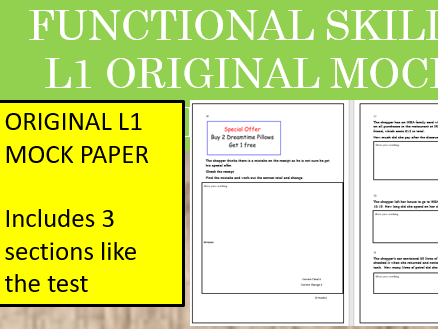 Functional Skills Maths L1 Mock Paper