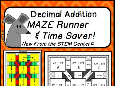 Decimal Maze Runner Activity