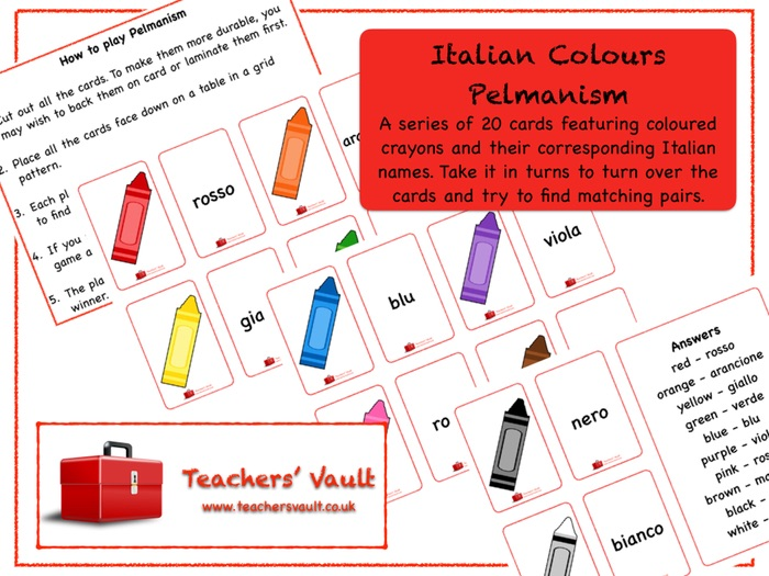Italian Colours Pelmanism Game