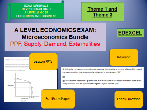 Microeconomics Bundle  including lessons, activities and exam questions: A Level Economics