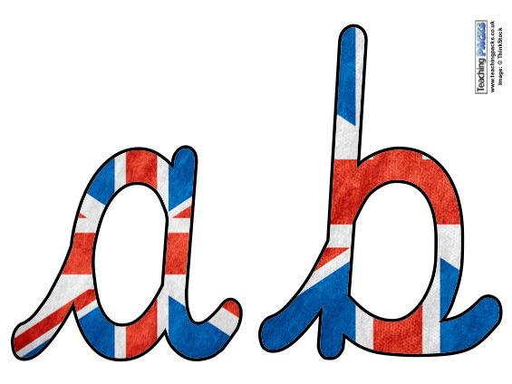 UK Flag - Cursive Display Letters
