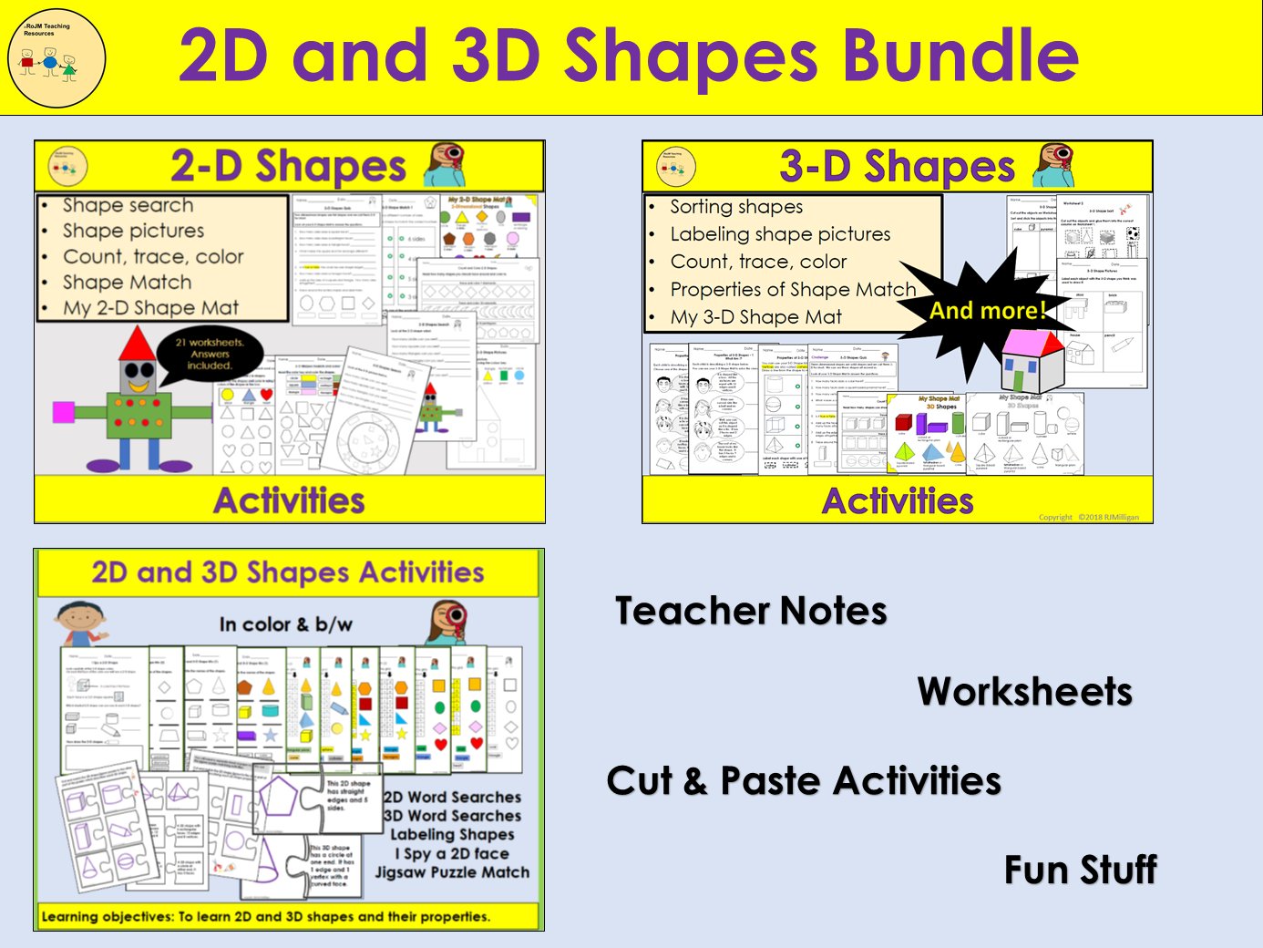 2D and 3D Shapes - Worksheets, Cut/Paste Jigsaw Match Up, Sorting, Word Searches, Quizzes, Labeling BUNDLE