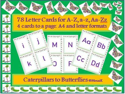 English, literacy, 78 alphabet cards for various activities; Letters in 3 styles: a, A, Aa