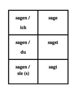 Present tense regular verbs in German Concentration games