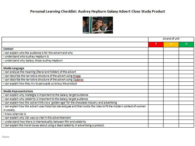 AQA GCSE Media Studies [reformed] Personal Learning Checklist PLC for Audrey Hepburn / Galaxy CSP