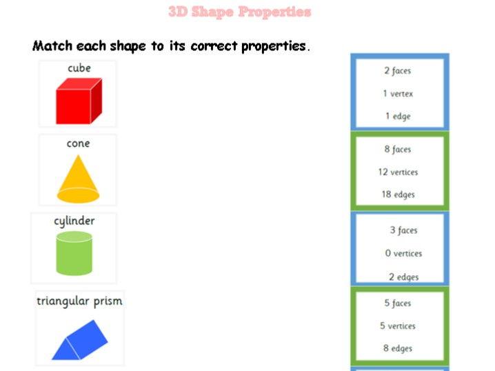 3D Shape Properties Match-up