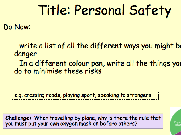 PSHE Health - personal safety lesson 6