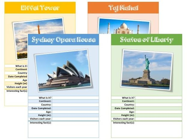 Famous Landmarks Factfile Activity