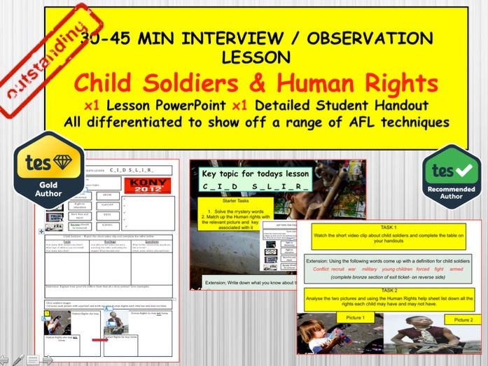 Child Soldiers: (Interview or Observation Lesson Resources) PSHE Citizenship.  UN  and Human Rights