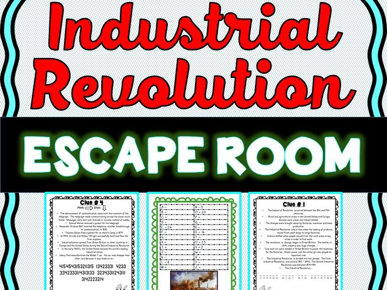 Industrial Revolution ESCAPE ROOM: Samuel Morse, Henry Ford - Print & Go!