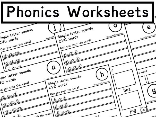 Phonics Alphabet Sound Worksheets with CVC words 19 Pages | Phonics Resources