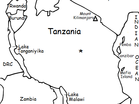 TANZANIA - Printable handout with map and flag