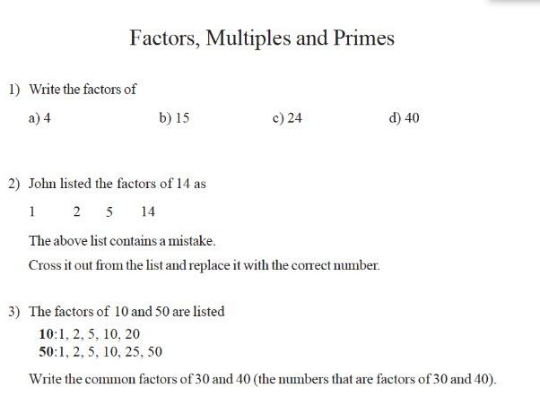 GCSE Maths  factors multiples and primes worksheet