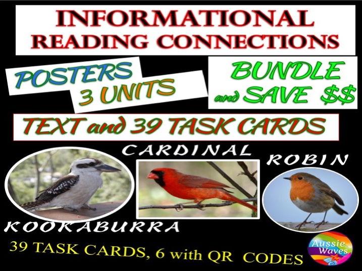 Reading Non-Fiction Informational Text and Task Cards BUNDLE 1: BIRDS CARDINALS KOOKABURRA and ROBIN