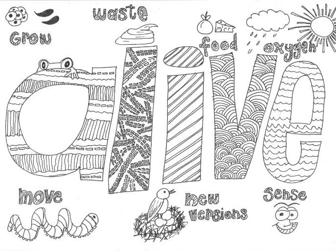 Characteristics of living things colouring page by for Living and nonliving things coloring pages