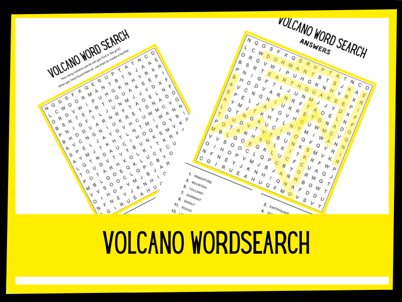 Volcano wordsearch KS2