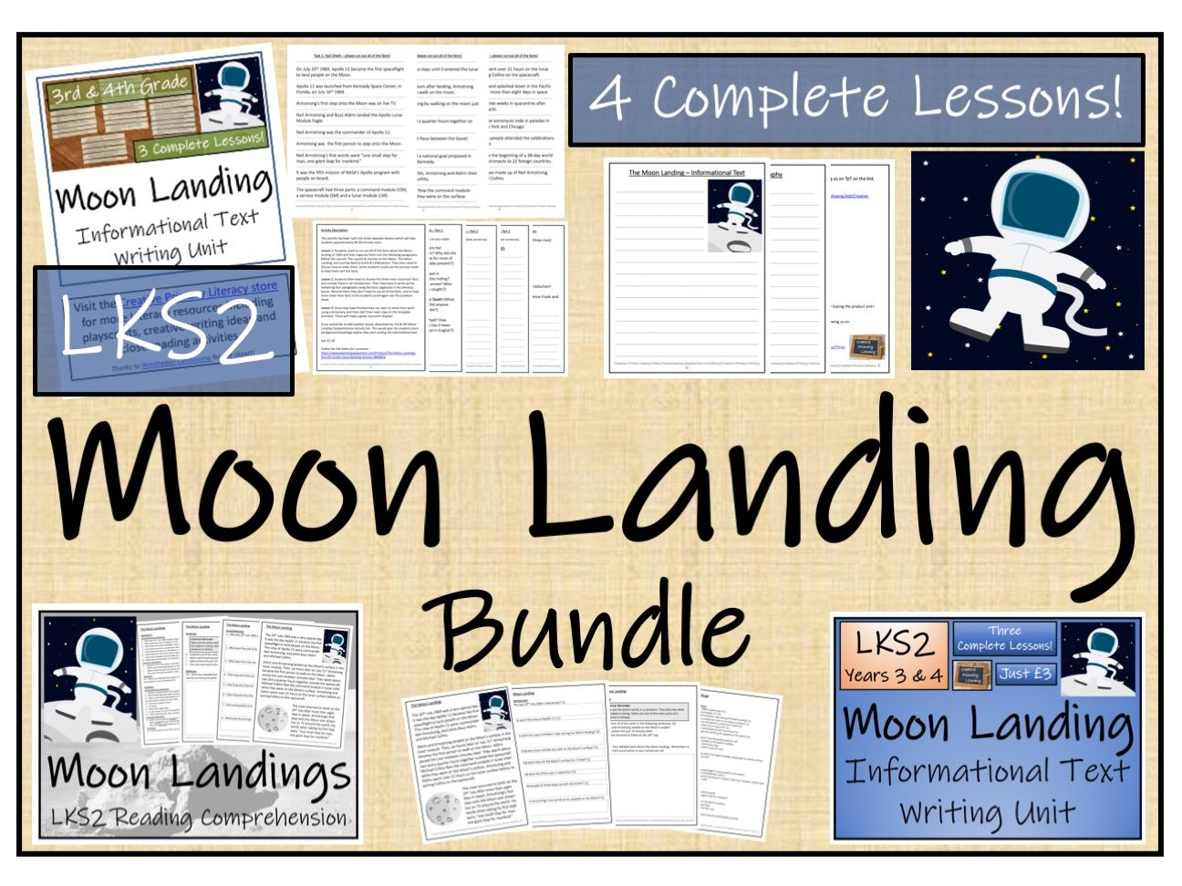 LKS2 History - The Moon Landing Reading Comprehension & Informational Text Writing Bundle