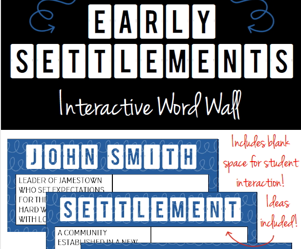 Early English Settlements in the U.S. Vocabulary Word Wall Cards