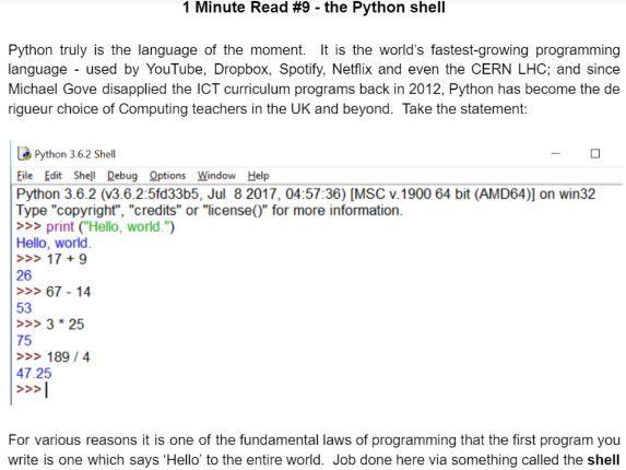 1 Minute Read no 9 - Python fundamentals