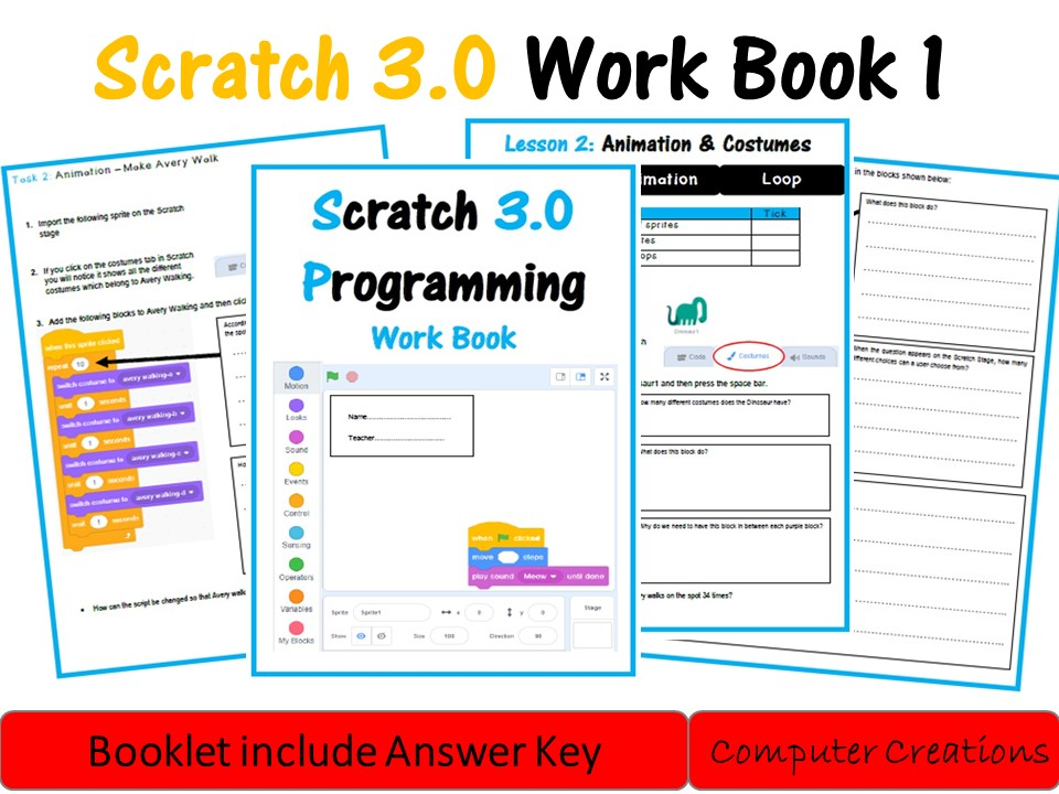 Scratch 3.0 Lesson Booklet 1 (including answers)