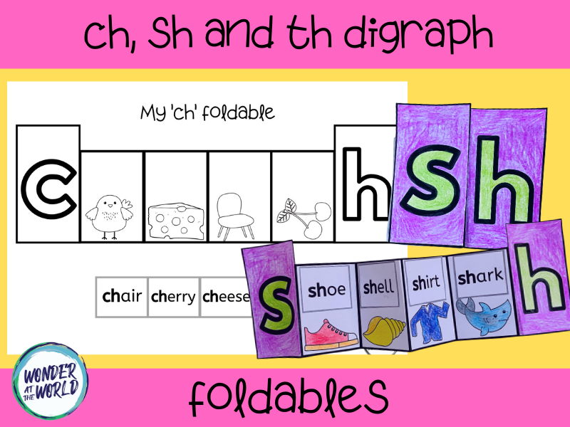 Consonant digraphs foldable activity - ch, th and sh beginning sounds